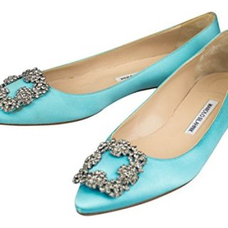MANOLO BLAHNIK Turquoise Satin Hangisi Heels Shoes 8 US 38 EU