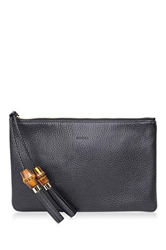 Gucci Black Bamboo Leather Zip Pouch Italy Box New