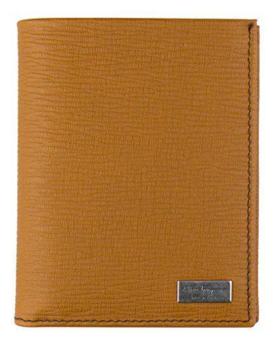 SALVATORE FERRAGAMO Men's Tan Brown Leather Bi-Fold Wallet