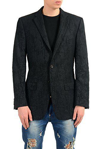 Versace Men's 100% Wool Distressed Striped Blazer Sport Coat