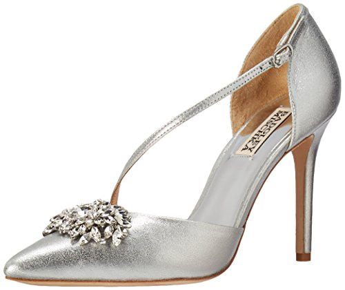 Badgley Mischka Women's Palma II Pump, Silver/Metallic Suede