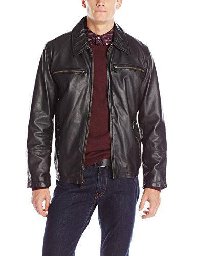 Andrew Marc Men's Garner Leather Moto Jacket, Black, Large