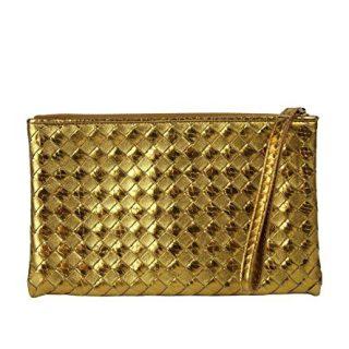 Bottega Veneta Woven Wristlet Gold Python/Leather Clutch Bag