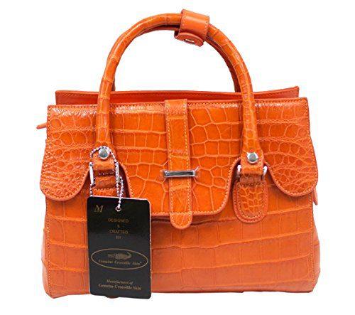Authentic M Crocodile Skin Womens Belly Bag Purse Tote Strap Handbag