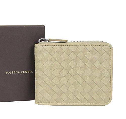 Bottega Veneta Unisex Zip Around Tan Leather Woven Wallet