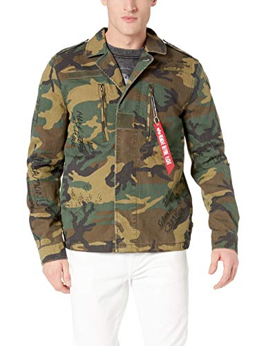 Alpha Industries Men's F-2 French Field Coat Deco, Woodland camo, X-Large