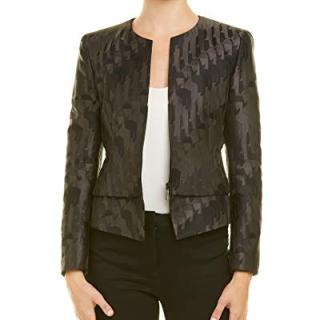 Akris Womens Silk-Lined Wool Jacket, 4, Black