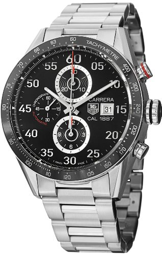 Tag Heuer Carrera Black Dial Stainless Steel Automatic Chronograph Mens Watch