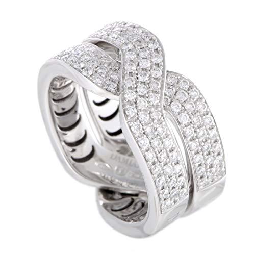 Damiani Abbraccio 18K White Gold Diamond Pave Crisscross Ring