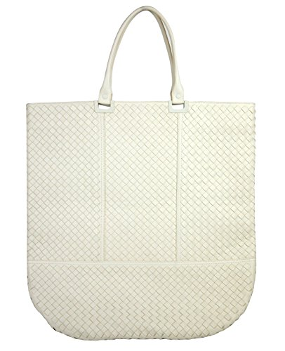 Bottega Veneta Woven White Leather Large Tote Bag
