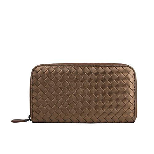 Bottega Veneta Women's Zip Around Copper Metallic Leather Wallet