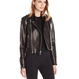 Andrew Marc Women's Leather Moto Jacket, Black, Medium