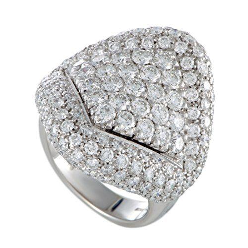 Damiani 18K White Gold Full Diamond Pave Large Cocktail Ring