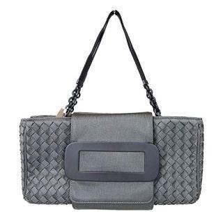 Bottega Veneta Intrecciato Gray Fabric Evening Tote Bag