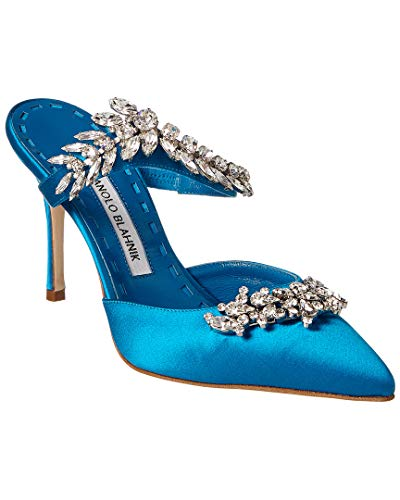 Manolo Blahnik Lurum Satin Pump, 37.5, Blue