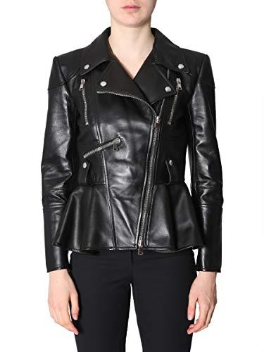 Alexander McQueen Women's Black Leather Outerwear Jacket