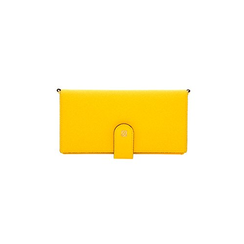 LQ Women Cowhide Smartphone Wallet Handbag Clutch Yellow