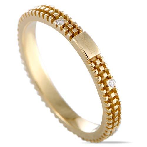 Damiani Metropolitan 18K Yellow Gold 8 Diamonds Thin Textured Band Ring