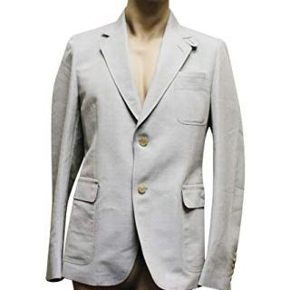 Gucci Men's Beige Blue Coat Jacket Blazer
