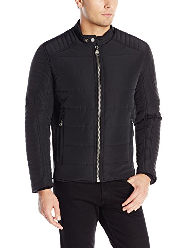 Marc New York by Andrew Marc Men's Doyers Quilted Moto Jacket, Black, Large