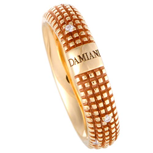 Damiani Metropolitan 18K Rose Gold 9 Diamonds Textured Band Ring