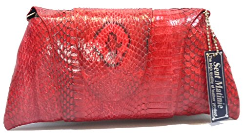 Authentic Snake Skin Women's Python Leather Chain Clutch Bag Purse