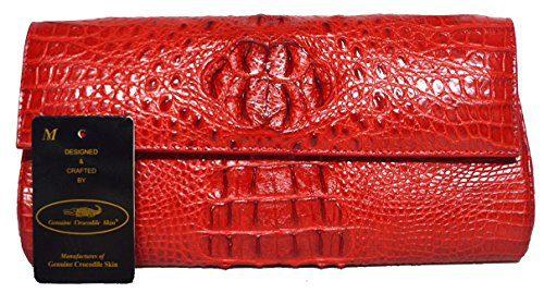 Authentic M Crocodile Skin Womens Clutch Bag Purse Chain