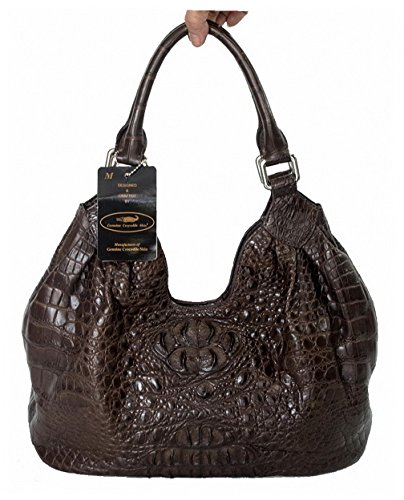 Authentic M Crocodile Skin Womens Bag Purse Hobo Tote W/Wallet Handbag
