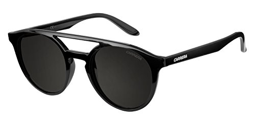 Carrera Men's Round Sunglasses, Shiny Black/Brown Gray, 49 mm