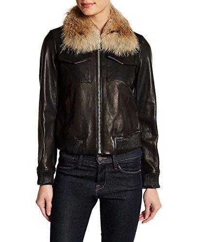 ANDREW MARC Emilia Flight Bomber Leather Jacket-Black-S