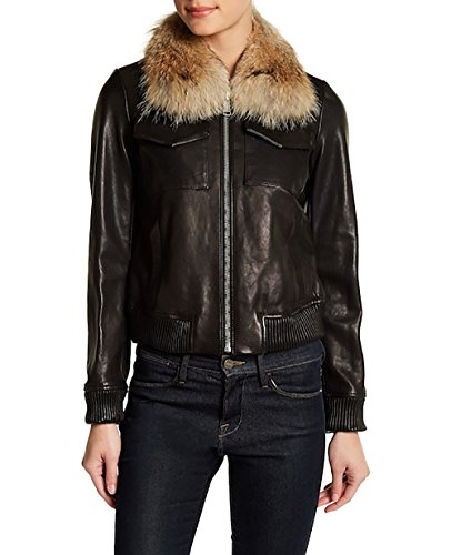 ANDREW MARC Emilia Flight Bomber Leather Jacket-Black-S