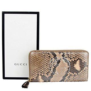 Gucci Interlocking G Brown Python Leather Snack Zip Around Wallet