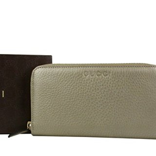 Gucci Zip Around Beige Metallic Leather Wallet With Logo