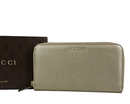 Gucci Zip Around Beige Metallic Leather Wallet With Logo