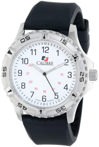 """Calibre Men's """"Sea Wolf"""" Stainless Steel and Silicone Watch"""