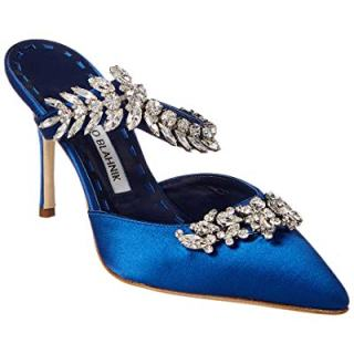 Manolo Blahnik Lurum Satin Pump, 36.5, Blue