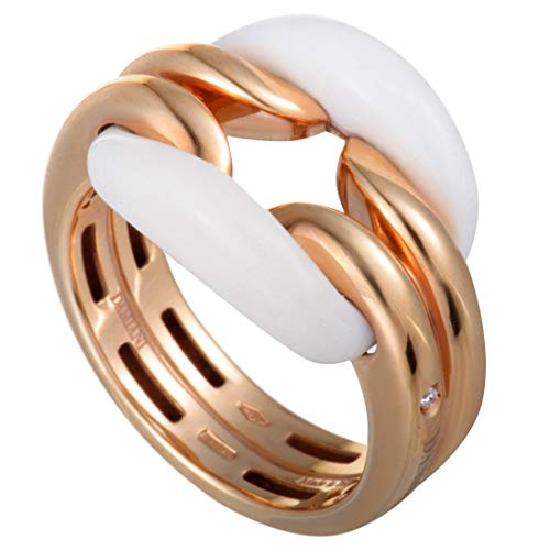 Damiani D.Lace 18K Rose Gold Diamond and White Agate Cushion Ring