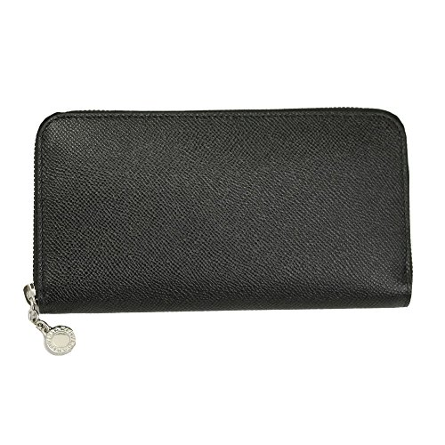 Bvlgari Black Leather Zip Around Long Wallet
