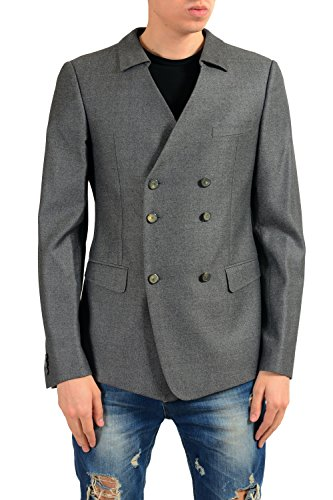 Versace Men's 100% Wool Gray Double Breasted Blazer Sport Coat