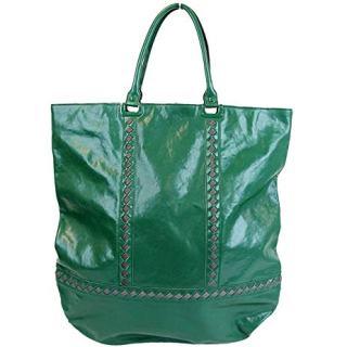 Bottega Veneta Unisex Green Leather Woven Detail Tote Bag