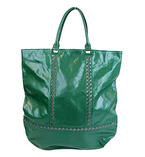 Bottega Veneta Unisex Green Leather Woven Detail Tote Bag
