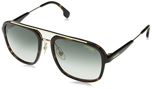 Carrera Men's Aviator Sunglasses, Havana Gold/Gray Green, 57 mm