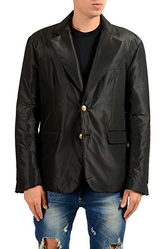 Versace Men's 100% Silk Black Lightly Insulated Two Button Blazer Sport Coat
