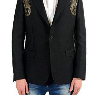 Versace Collection Men's Silk Detailed Blazer Sport Coat