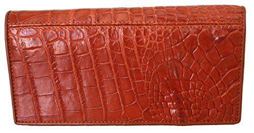 Authentic M Crocodile Skin Women's Long Bifold Leg Section Checkbook Wallet