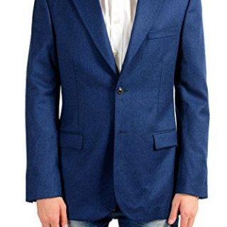 Versace Men's Cashmere Wool Blue Two Button Blazer