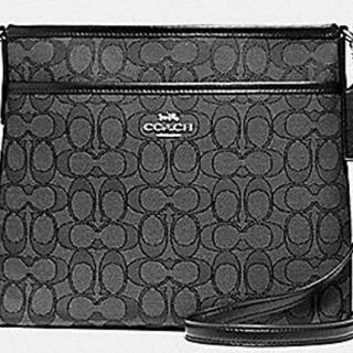Coach Outlined Zip File Crossbody (Black Grey)