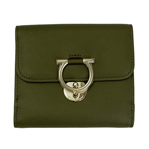 Salvatore Ferragamo Gancini Green Leather Bifold Wallet Army