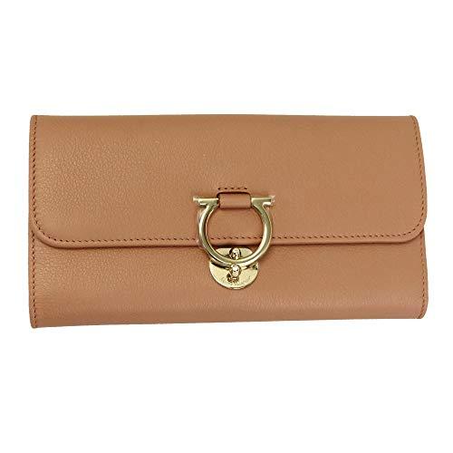 Salvatore Ferragamo Gancini Pink Leather Trifold Long Wallet New Blush