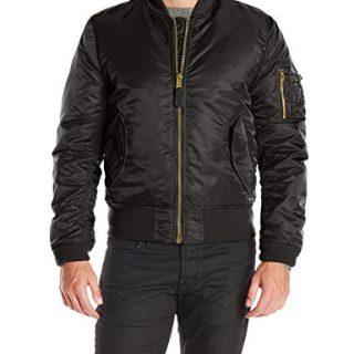 Alpha Industries Men's Slim Fit Bomber Flight Jacket, Black, Small